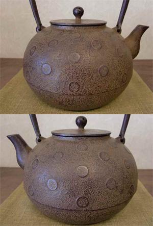 鉄瓶 水玉紋丸形鉄瓶0.8L