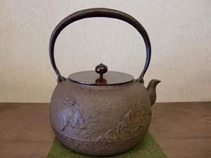 【山形鉄瓶】鉄瓶 手取唐獅子(銅蓋付)2.4L